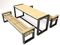 """Стол обеденный с лавками GoodsMetall из металла и дерева, Лофт """"Пикник"""""""