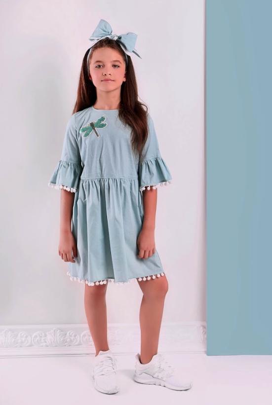 Ментоловое  платье для девочки  ТМ МОНЕ р-р 122,128,134,140