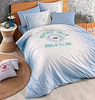 Постельное белье Beverly Hills Polo Club ранфорс BHPC 019 Blue евро, фото 1