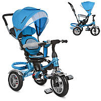 Детский велосипед M 3114-5A, трехколесный, колясочный, трансформер, голубой