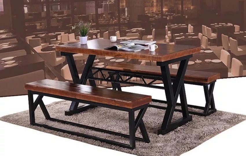 стол обеденный с лавками Goodsmetall из металла и дерева лофт рихард Biglua