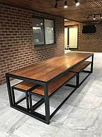 """Стол обеденный с лавками GoodsMetall из металла и дерева, Лофт """"Викинг"""""""