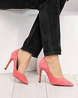 Изумительные замшевые туфли лодочки на шпильке светлая фуксия