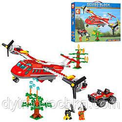 Конструктор Sembo Block 603038, пожарный, самолет, квадроцикл, фигурки
