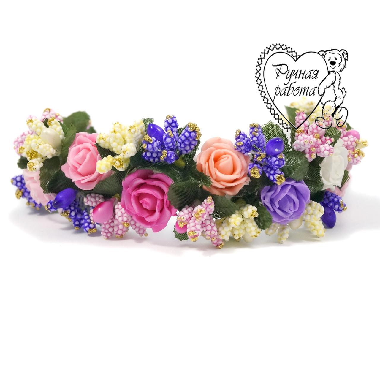 Повязка венок розы,  для девочки 0,5-2 года, ручная работа, цвета под заказ