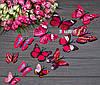 Объемные 3Д розовые бабочки для декора интерьера