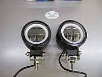 Дополнительные LED фары GV-20WСТГ круглые, с ДХО ангельские глазки - 2шт.- не слепят встречных., фото 1