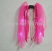 Светодиодный обруч, светящиеся дреды волосы 50см для ночных мероприятий! Розовые
