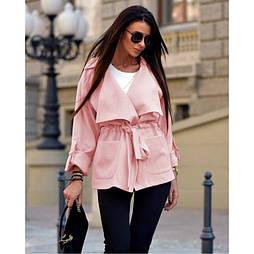 😜Пальто женское на завязке Розовый