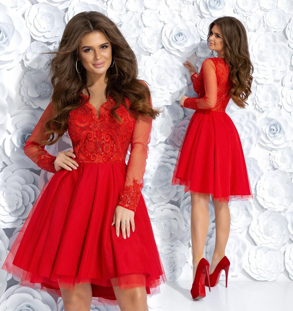 Великолепное платье с пышной юбкой габардин + сетка верх гипюр + подкладка + сетка Размер 42, 44, 46