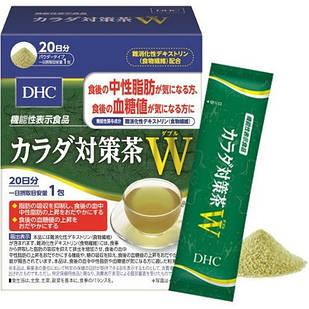 DHC порошок зеленого чая c неперевариваемым дестрином для похудения  20 пакетов по 6,8 гр.