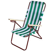 Шезлонг розкладний Vista «Пікнік» Зелений/ Білий