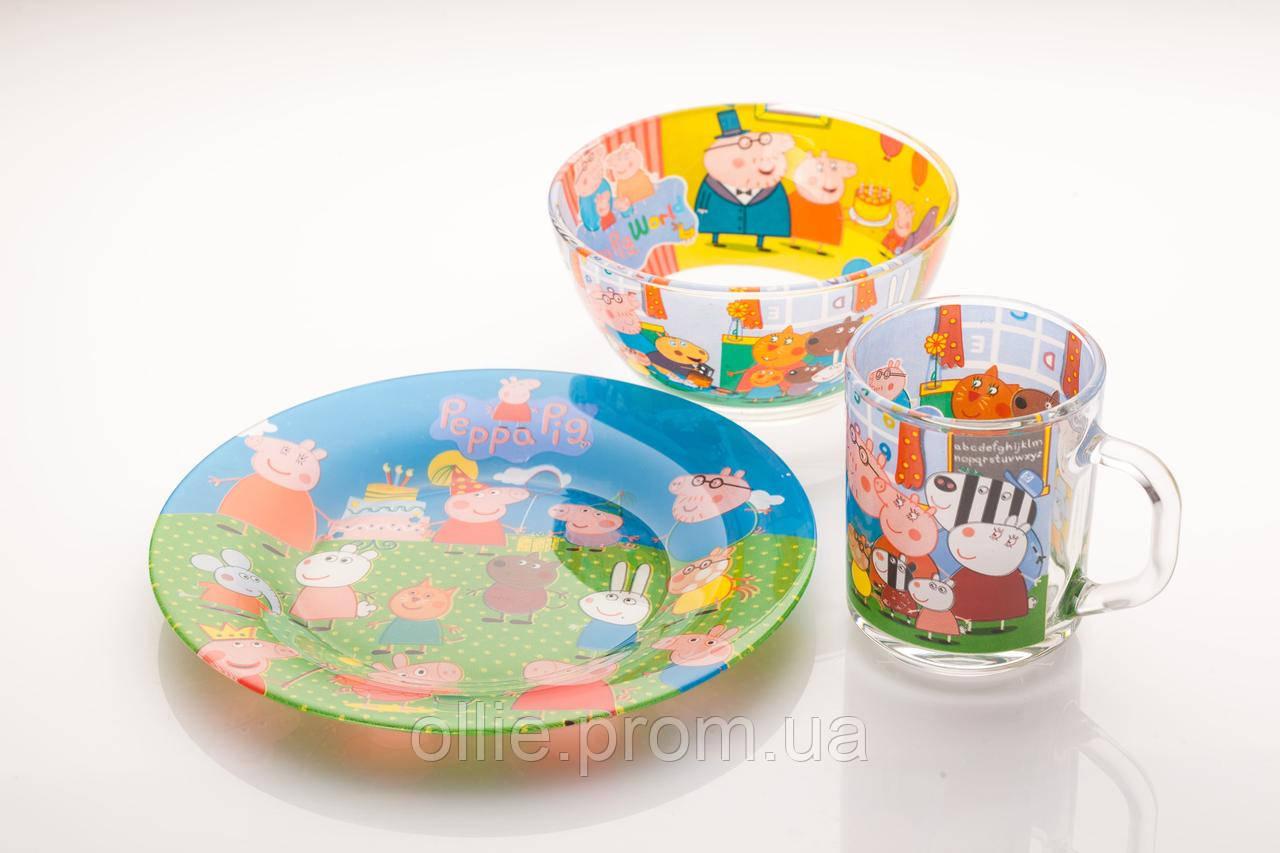 Детская стеклянная посуда Свинка Пеппа