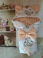 Конверт плюшевый  на выписку с ушками  для  новорожденных Мишки, фото 1