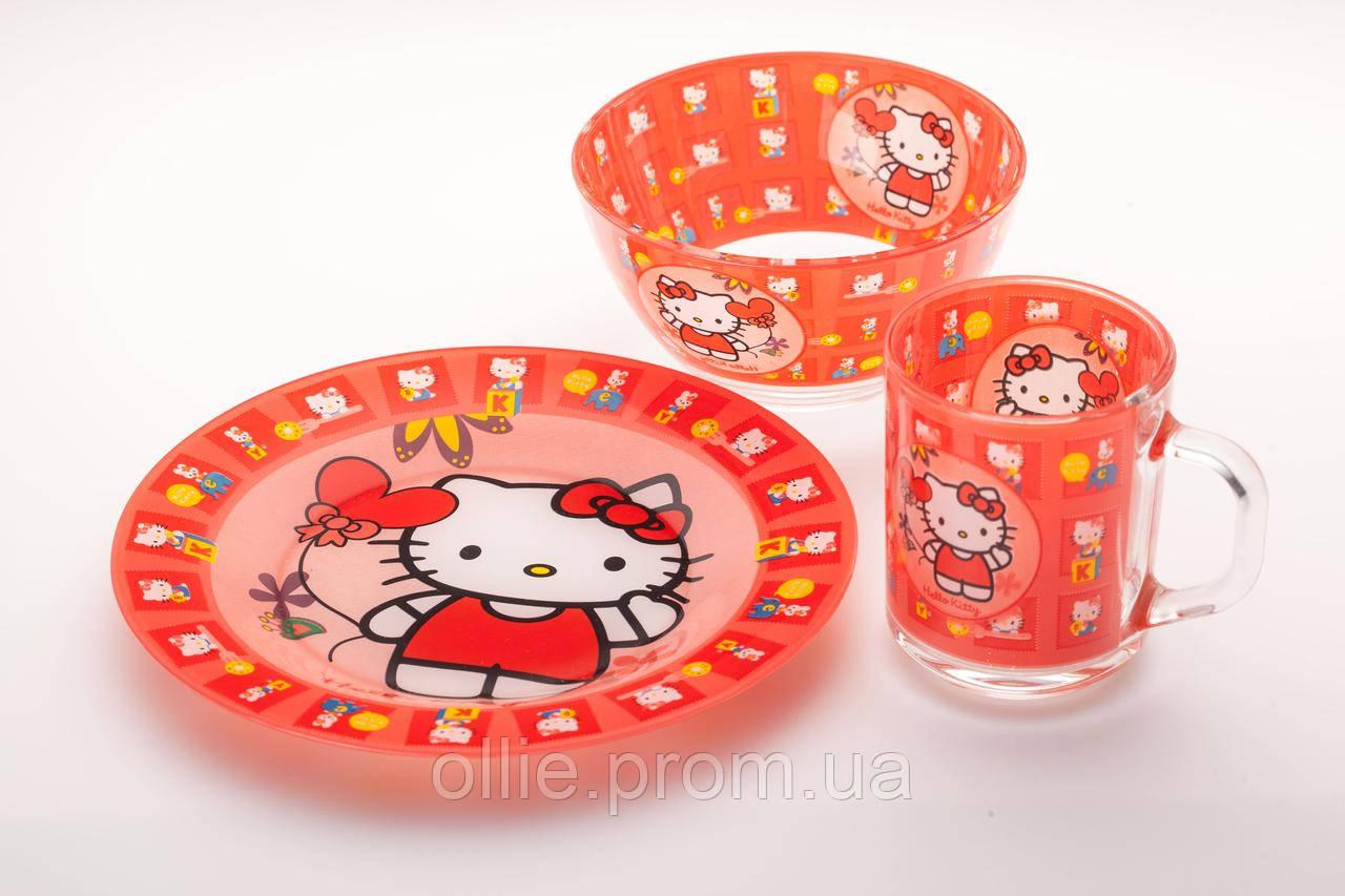 Набор посуды стекло hello kitty