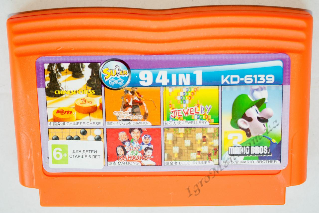 Картридж денди 94 в 1 Mario Bros, Lode Runner, Jewellery