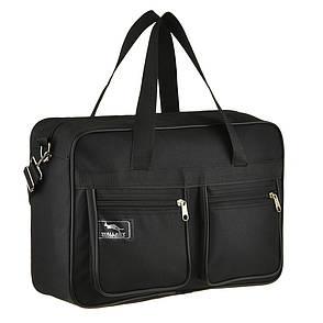 Мужская сумка Wallaby 1 отделения 2 кармана чёрная 38х26х13 материал тканевой на ПВХ основе в 2630, фото 2