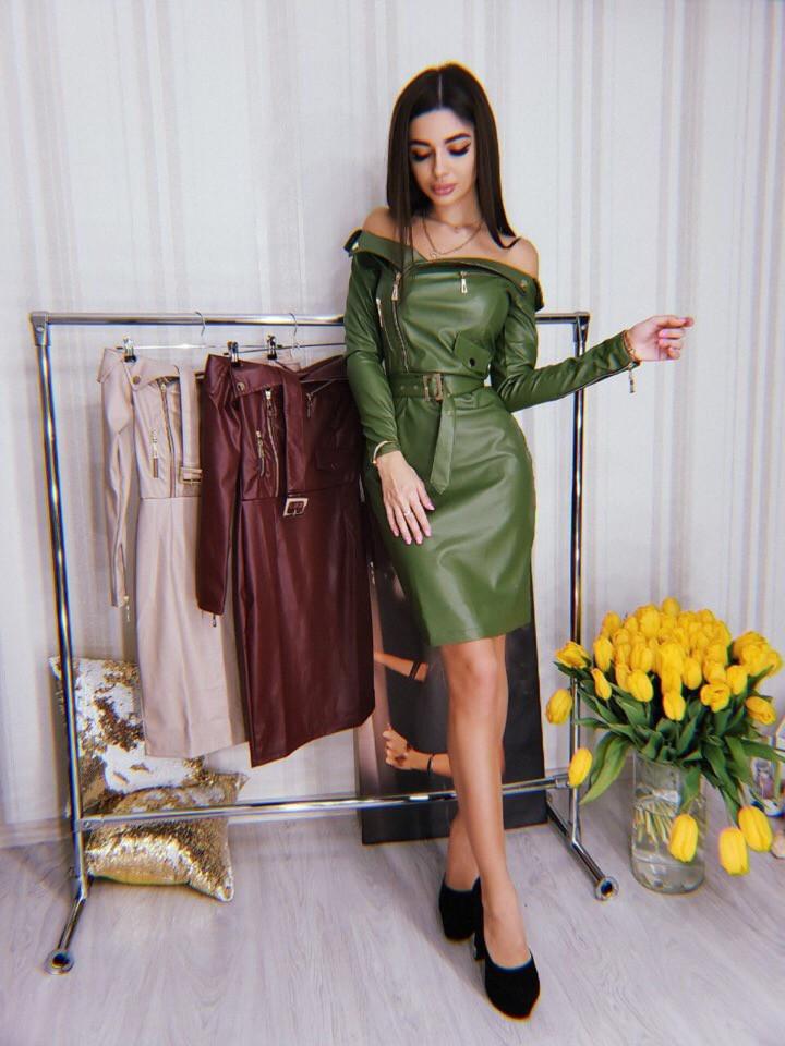 20bfa4a35e0 Купить Кожаное платье с открытыми плечами и длинным рукавом 71032521 ...