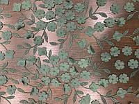 Ткань сетка зелёная с цветами, фото 1