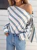 Шифоновая женская блуза в полоску с одним открытым плечом 65BL225
