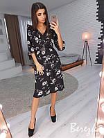 Легкое принтованное платье с треугольным вырезом и юбкой миди 66PL2480, фото 1