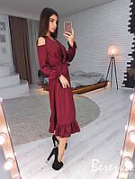 Шелковое платье-рубашка с разрезами на плечах и оборками 66PL2485, фото 1