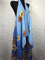 Шифоновая голубая пляжная накидка на купальник с переходом цвета (цв.30)