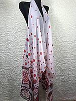 Модная шифоновая пляжная накидка белая с рисунком (цв.31)