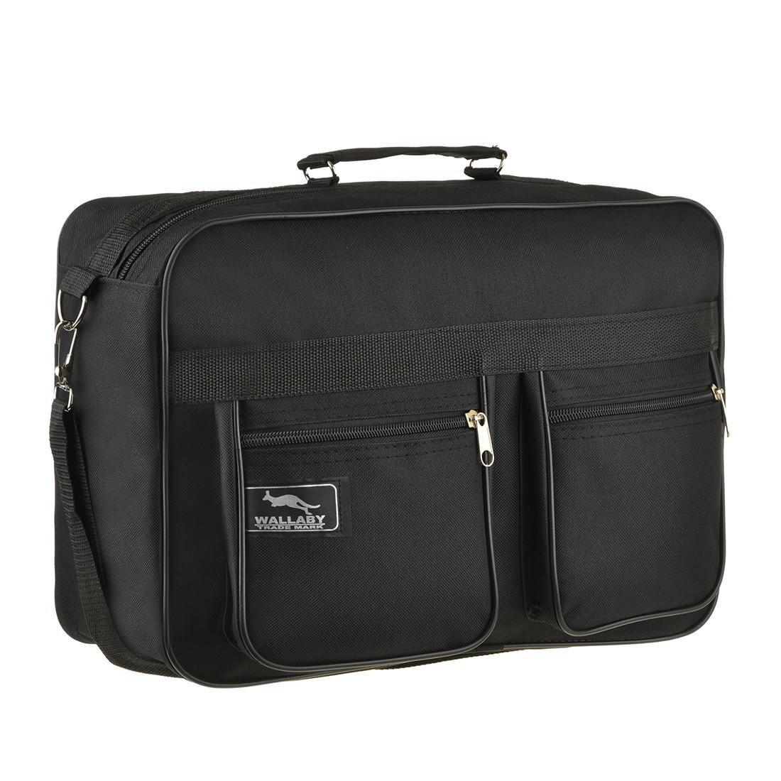 Мужская сумка Wallaby 38х26х13 чёрная 1 отделения 2 кармана материал тканевой на ПВХ основе в 2631