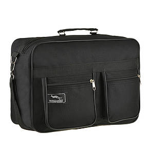 Мужская сумка Wallaby 38х26х13 чёрная 1 отделения 2 кармана материал тканевой на ПВХ основе в 2631, фото 2
