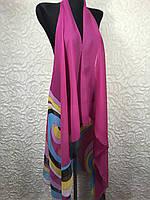 Шифоновый пляжный халат малиновый с абстрактным принтом (цв.34)
