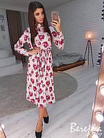 Шелковое платье-рубашка в цветочный принт длиной миди 66PL2489, фото 1