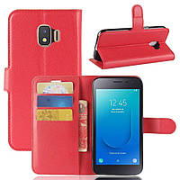 Чехол-книжка Litchie Wallet для Samsung J260 Galaxy J2 Core Красный