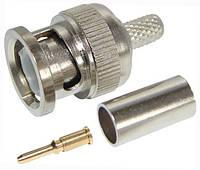 Разъём (штекер) BNC под кабель RG-6, обжимной, латунь