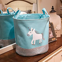 Тканевая круглая корзина для игрушек, белья, хранения вещей складная Berni Пони Голубая 40 х 33 x 40см (49031)