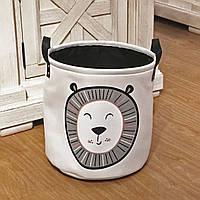 Текстильная корзина для хранения вещей с ручками Berni Лев 35х35см Белый (49043)