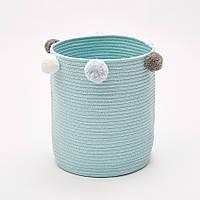 Круглая корзина для игрушек, белья, хранения вещей из хлопка Berni 37х32 см Голубая (49377)