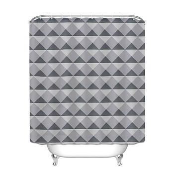 Шторка для ванной Треугольники 180 х 180 см Berni Серая (49415)