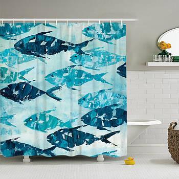 Шторка для ванной Рыбы 180 х 180 см Berni Бирюзовая (49428)