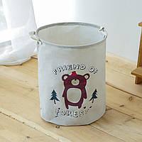 Текстильная корзина с ручками для хранения вещей Berni Медведь (49457)