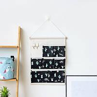Подвесной Органайзер настенный для хранения Черный Кактусы (50 х 35 см. / 7 ячеек) Berni