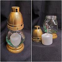 Оригинальная лампадка из стекла и пластика, свеча 25 часов горения, выс. 28 см., 40/30 (цена за 1 шт. + 10 гр)