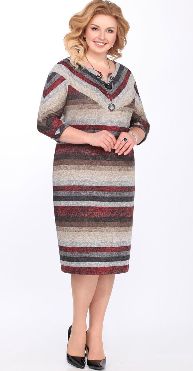 """Платье Matini-31163/1 белорусский трикотаж, серый-бордо """"полоска"""", 54"""