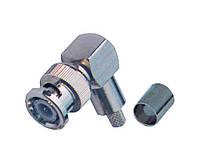 Разъём (штекер) BNC под кабель RG-58, обжимной, угловой, латунь