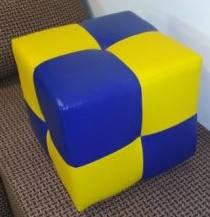 Пуф Рио синий с желтым,пуфик,пуфики,пуф кожзам,пуф экокожа,банкетка,банкетки,пуф куб