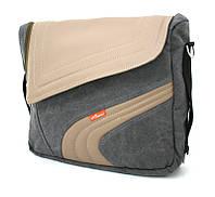 "Сумка для ноутбука LF11170GR до 15.6"" серый холст + беж кожзам"