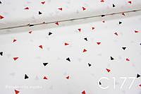 Ткань сатин Треугольник красные, черные, фото 1