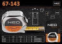 Рулетка стальная с нейлоновой лентой 3м х 16мм., NEO 67-143, фото 1