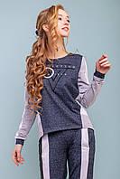 Красивый модный стильный спортивный костюм женский 2020  цвет: черно - серый, размер: M, L, XL, XXL