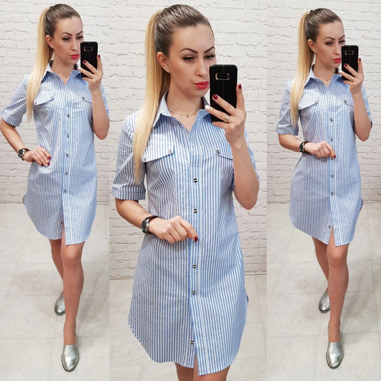 Платье- рубашка, арт827, вертикальная полоска, цвет голубой